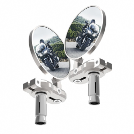 Oxford Bar End Mirrors - Silver